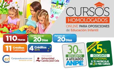 Cursos Homologados para Oposiciones de INFANTIL. Cursos de 110h Homologados por la Universidad Camilo José Cela